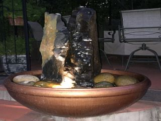 Fountain with copper liquid paint