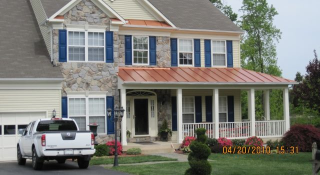 Manassas, VA, copper coated roof with clearcoat