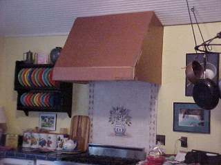 Stove hood in copper